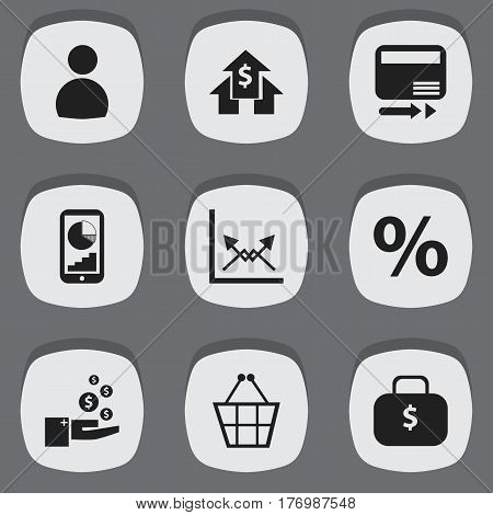Set Of 9 Editable Analytics Icons. Includes Symbols Such As Money Bag, User, Schema And More. Can Be Used For Web, Mobile, UI And Infographic Design.