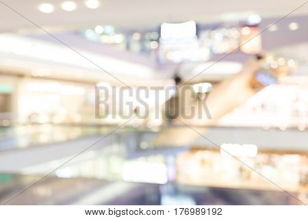Shopping center blur background with bokeh