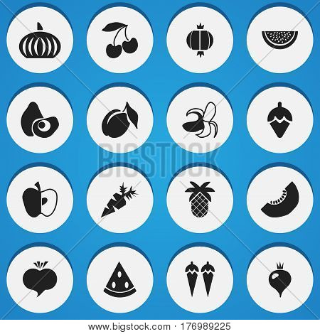 Set Of 16 Editable Dessert Icons. Includes Symbols Such As Root Vegetable, Banana, Chili And More. Can Be Used For Web, Mobile, UI And Infographic Design.
