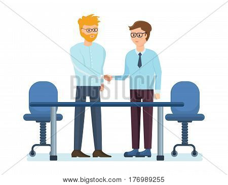 Business people working office concept. Partners are discussing at the table in his office, objectives and financial position of both parties. Vector illustration isolated on white background.