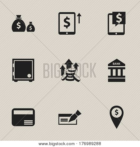 Set Of 9 Editable Finance Icons. Includes Symbols Such As To Deposit Money, Money Card, Exchange Center And More. Can Be Used For Web, Mobile, UI And Infographic Design.