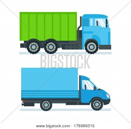 Lorry for transportation of goods and construction materials, heavy volume and weight, delivery when ordering goods. Vector illustration isolated on white background.