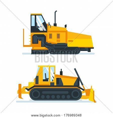 Construction machinery concept. Set construction machines, trucks, vehicles for transportation, asphalt, concrete mixing, crane. Vector illustration isolated on white background.