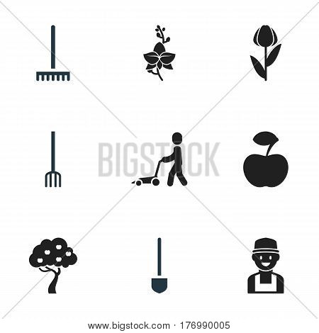 Set Of 9 Editable Agriculture Icons. Includes Symbols Such As Grass Cutting Machine, Blossom, Fresh Fruit And More. Can Be Used For Web, Mobile, UI And Infographic Design.