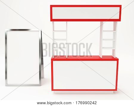 Red Booth Modern With Exhibition Stand