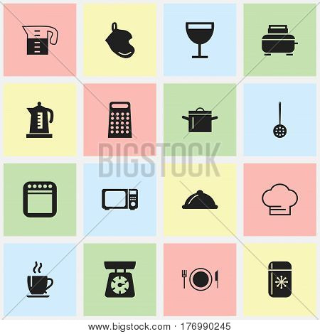 Set Of 16 Editable Cooking Icons. Includes Symbols Such As Coffee, Strainer, Pan And More. Can Be Used For Web, Mobile, UI And Infographic Design.