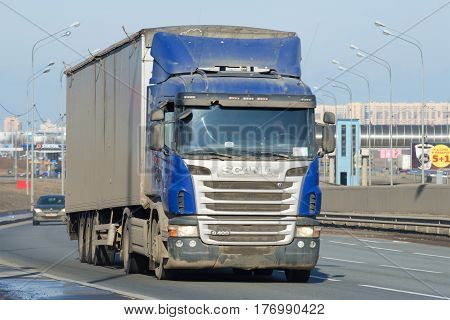 ST PETERSBURG, RUSSIA - MARCH 09, 2017: Truck-trailer SCANIA G400 4X2 on the highway close-up
