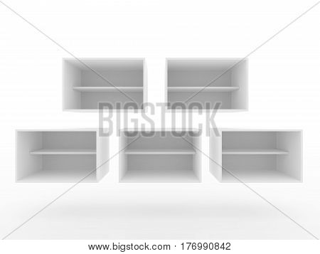 Box shelve design floating in the air 3D Rendering