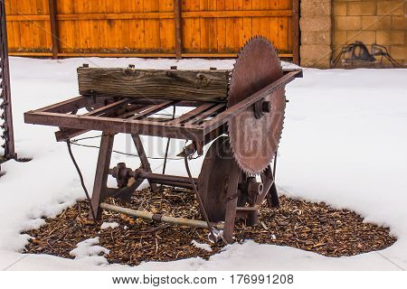 Vintage Table Saw & Blade In Wintertime