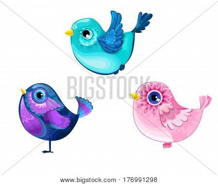 Decorative birdies set vector illustration, color bird