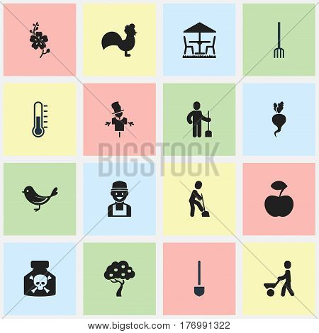 Set Of 16 Editable Agriculture Icons. Includes Symbols Such As Ground Shoveling, Fruit Woods, Digger Human And More. Can Be Used For Web, Mobile, UI And Infographic Design.
