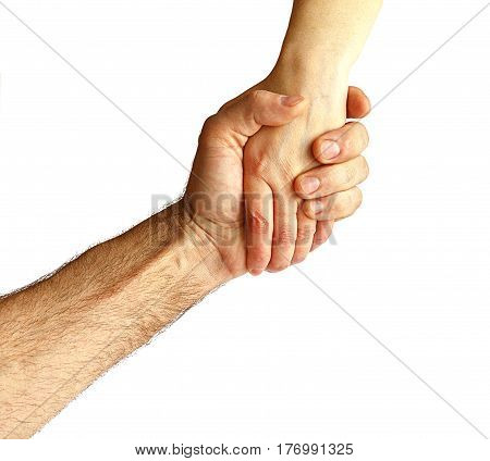 A man took the woman's hand on a white background