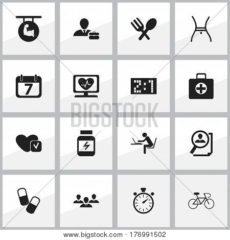 Set Of 16 Editable Complicated Icons. Includes Symbols Such As First Aid Box, Heart Rhythm, Programmer And More. Can Be Used For Web, Mobile, UI And Infographic Design.