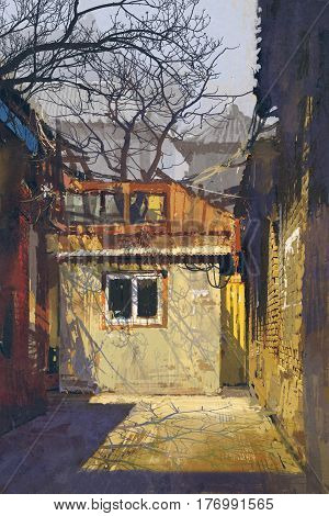 dirty corner of old alley with abandoned buildings, illustration painting