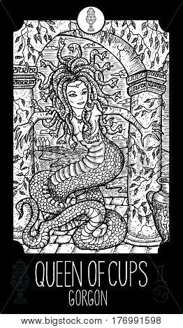 Queen of cups. Gorgon. Minor Arcana Tarot card. Fantasy line art illustration. Engraved vector drawing. See all collection in my portfolio set.