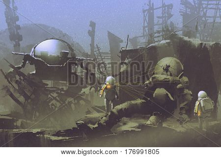 exploration sci-fi concept of two astronauts found a dead spaceman in abandoned planet, illustration painting