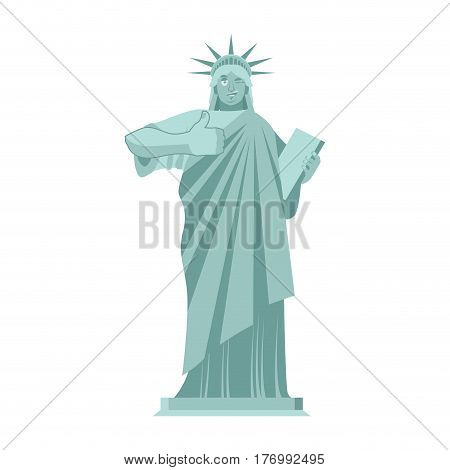 Statue Of Liberty Winks. Thumbs Up Landmark  America. Sculpture Architecture Usa
