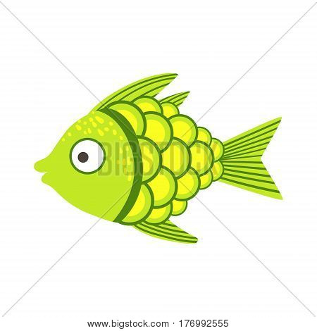 Green And Yellow Fantastic Colorful Aquarium Fish, Tropical Reef Aquatic Animal. Fantasy Underwater Marine Fauna Cartoon Sea Water Fish Isolated Vector Illustration.