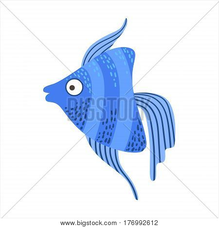 Blue Stripy Angelfish Fantastic Colorful Aquarium Fish, Tropical Reef Aquatic Animal. Fantasy Underwater Marine Fauna Cartoon Sea Water Fish Isolated Vector Illustration.