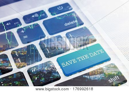 SAVE THE DATE: Green button keyboard computer. Double Exposure Effects. Digital Business and Technology Concept.
