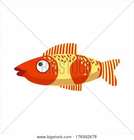 Red And Yellow Fantastic Colorful Aquarium Fish, Tropical Reef Aquatic Animal. Fantasy Underwater Marine Fauna Cartoon Sea Water Fish Isolated Vector Illustration.