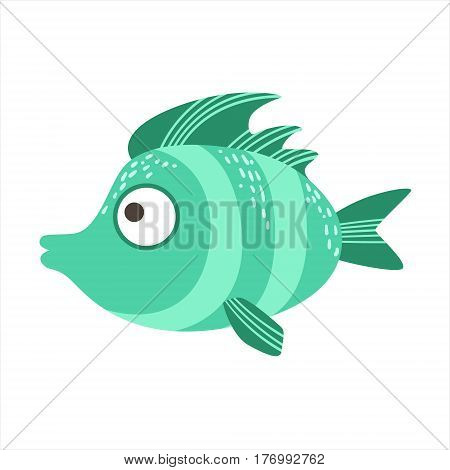 Turquoise Stripy Fantastic Colorful Aquarium Fish, Tropical Reef Aquatic Animal. Fantasy Underwater Marine Fauna Cartoon Sea Water Fish Isolated Vector Illustration.