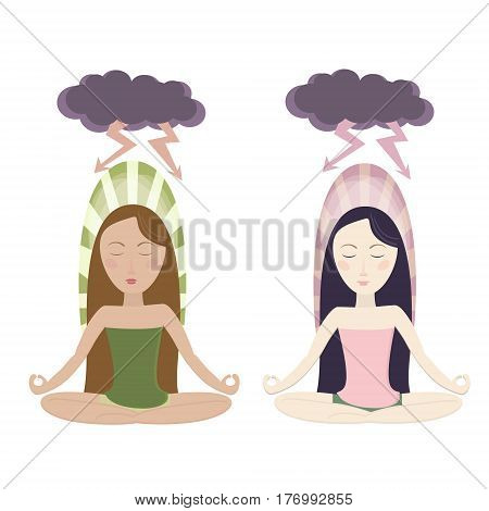 Meditating girls in cartoon style. Protected against storm. Vector eps10