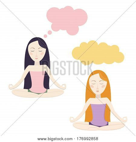 Meditating cartoon girls. Clouds for dreams. Vector eps10