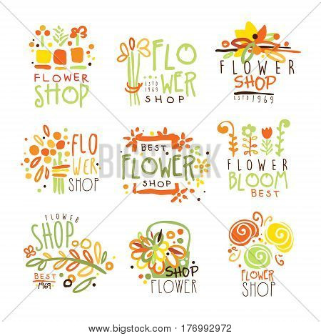 Flower Shop Red Yellow And Green Colorful Graphic Design Template Logo Set, Hand Drawn Vector Stencils. Artistic Promo Posters With Funky Font And Fun Design Elements.