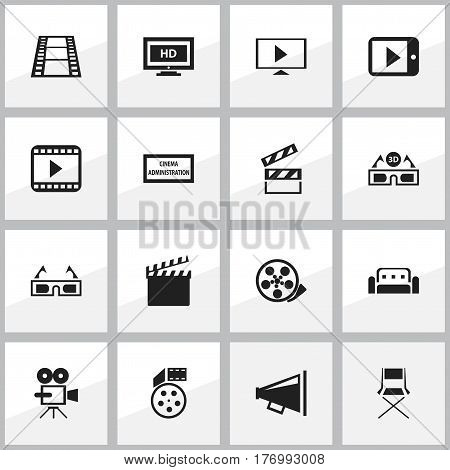 Set Of 16 Editable Filming Icons. Includes Symbols Such As Record Cam, Theater Agency, Tape And More. Can Be Used For Web, Mobile, UI And Infographic Design.