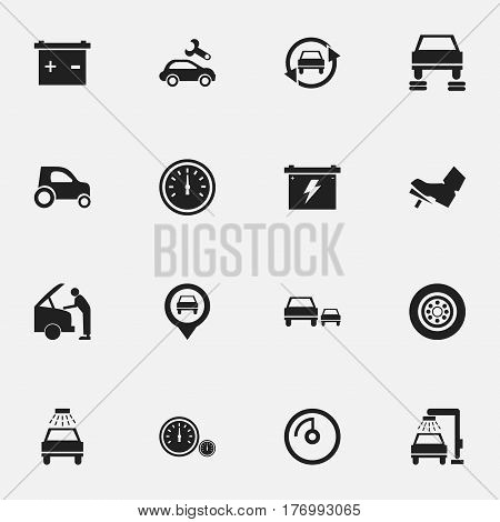 Set Of 16 Editable Vehicle Icons. Includes Symbols Such As Pointer, Battery, Treadle And More. Can Be Used For Web, Mobile, UI And Infographic Design.