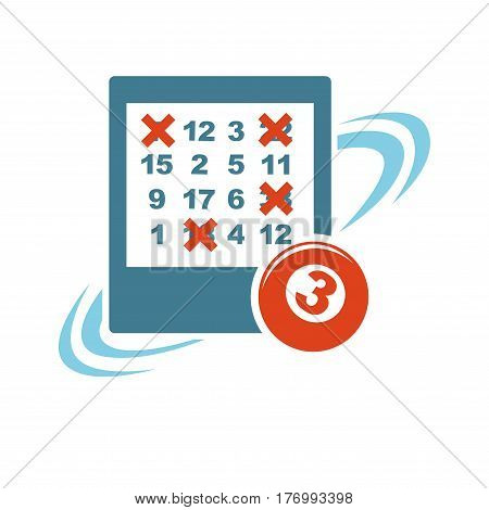 Gambling template with isolated lottery ticket and red ball with number three. Piece of blue paper with crossed numerals on white. Vector illustration in flat design of raffling game concept