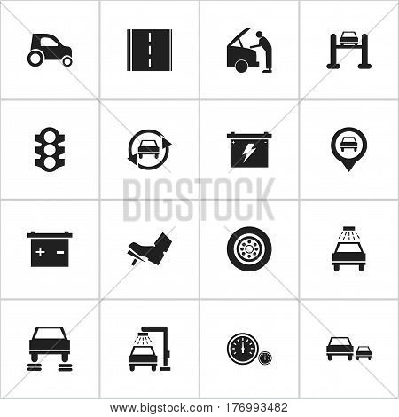 Set Of 16 Editable Traffic Icons. Includes Symbols Such As Stoplight, Car Lave, Treadle And More. Can Be Used For Web, Mobile, UI And Infographic Design.