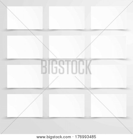 Empty blank paper with white rectangle posters copy space in flat design. Vector isolated mockup template on gray background. White sheets or figures equidistant from each other page bulletins