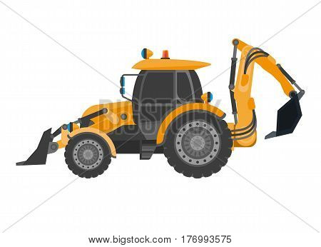Bulldozer with heap in flat design isolated on white. Power machine for earthwork and building. Vector illustration of crawler continuous tracked tractor equipped with substantial metal plate blade