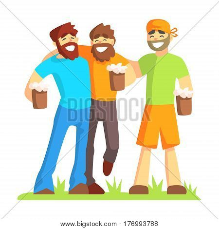 Three Friends With Bushy Beards Drinking Beer Outdoors, Part Of Male Friendship Series Of Illustrations. Guys Spending Good Time With Their Best Mates Colorful Cartoon Drawing.