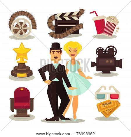 Cinema template vector set of symbols on white. Movie red seat, golden trophy, popcorn and drink, 3D glasses, camera device, celluloid equipment, two tickets signs around male and female actors