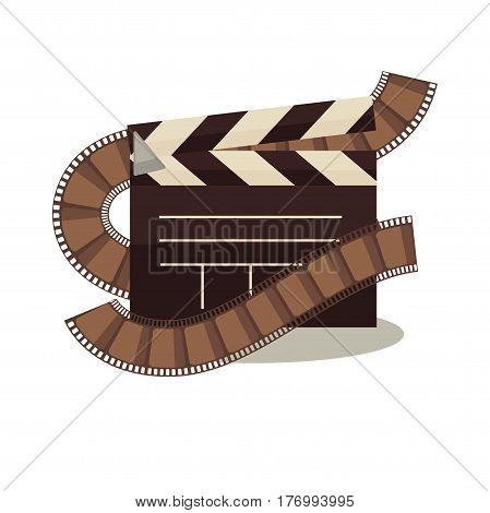 Cinema clapperboard with celluloid elements around isolated on white. Objects for filming shooting vector illustration in flat design. Signal to synchronize starting of picture and sound machinery