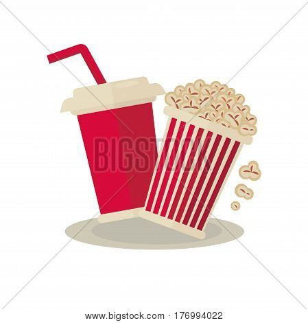 Popcorn carton bowl and soda drink in ruddy paper takeaway glass with red long straw on white. Cinema concept with traditional tasty food elements vector colorful illustration in flat design.