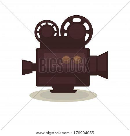 Vintage filming camera isolated on white background. Eternal symbol of cinematograph vector illustration. Old equipment for movie creation. Outmoded device that associates with cinema industry.