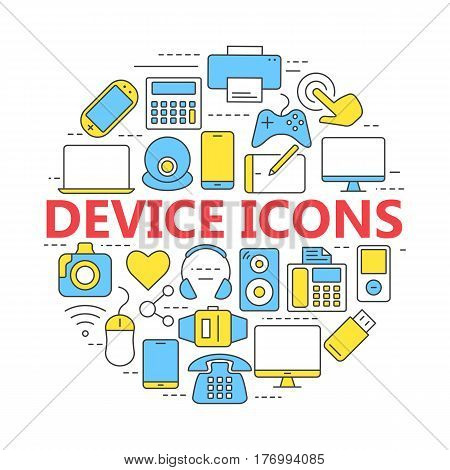 Electronic devices thin line icons. Set vector line icons for mobile concepts and web apps.