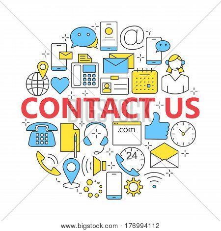 Contact us line icons. Support concept set. For web site construction mobile applications banners corporate brochures.
