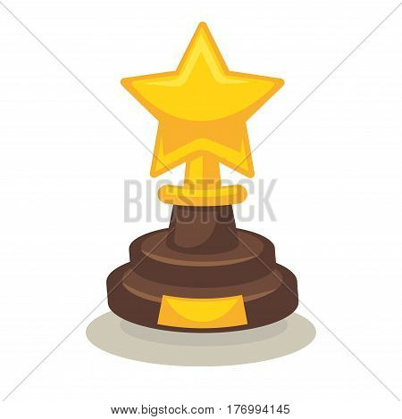 Trophy in form of star on pedestal isolated on white background. Award for great achievements in cinematograph vector illustration. Prize for outstanding actor talent and unforgettable part in movie.