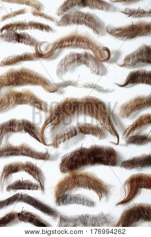 Selection of Mustaches at the Theater Wig and Moustache Store