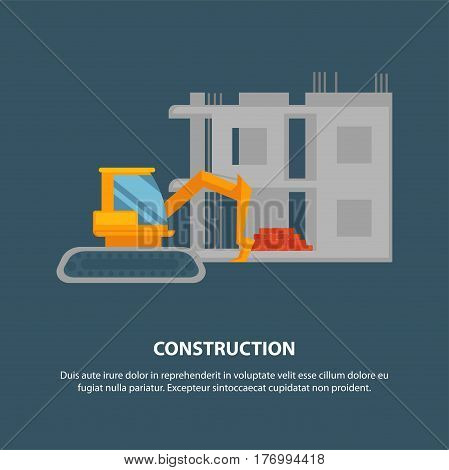 Home construction with yellow excavator graphic emblem on blue background. Power shovel with red ladle standing near unfinished two-story building. Vector illustration in cartoon style web banner.