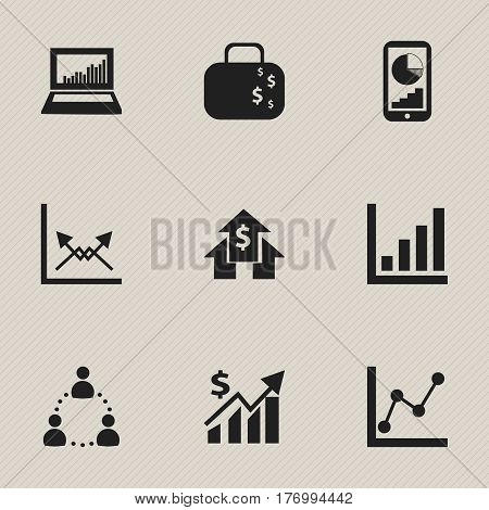 Set Of 9 Editable Statistic Icons. Includes Symbols Such As Banking House, Cash Briefcase, Transmission And More. Can Be Used For Web, Mobile, UI And Infographic Design.