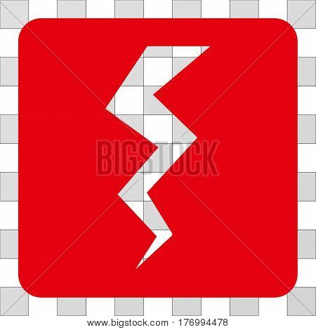 Thunder Crack interface icon. Vector pictograph style is a flat symbol perforation centered in a rounded square shape, red color.