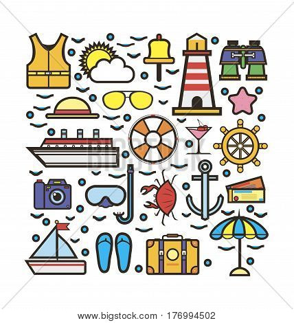 Cruise marine sketch for holiday colorful vector set. Collection of water means of transportation, summer clothes, travel accessories, tourist goods, life-saving equipment labels isolated on white