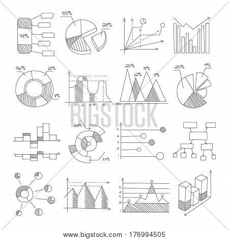 Data Graphic Representation Charts Of Different Types Hand Drawn Design Templates In Pencil Monochrome Style. Vector Graphs And Diagrams Set In Black And White Color Pen Illustrations.