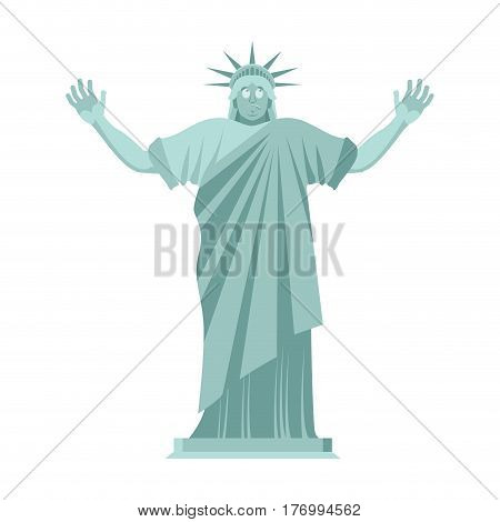 Statue Of Liberty Is Surprised. Astonished Landmark  America. Sculpture Architecture Usa
